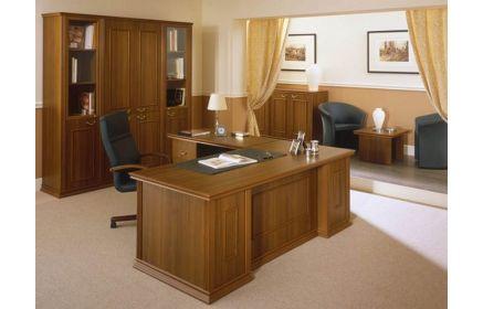 Купить Кабинет Яшма в простом классическом стиле с угловым столом для руководителя  под заказ