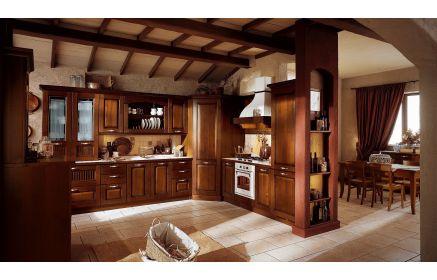 Купить Кухня Паули угловая из массива натурального древесного цвета с белой столешницей  под заказ