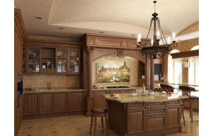 Купить Кухня Аркадия встроенная угловая с отдельным квадратным закрытым столом  под заказ