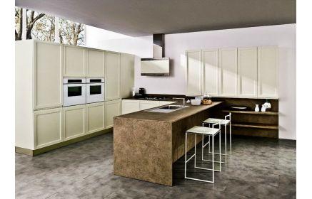 Купить Кухня Ирена в современном стиле белого цвета с коричневым столом под заказ