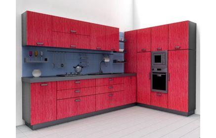 Купить Кухня Афина угловая в современном стиле модерн с красным ярким фасадом  под заказ