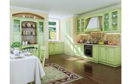 Купить Кухня Алина встроенная в салатовых тонах с обеденным столом  под заказ