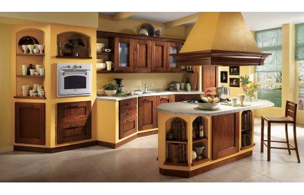 Купить Кухня Барокко желто-коричневого цвета и серой столешницей  под заказ