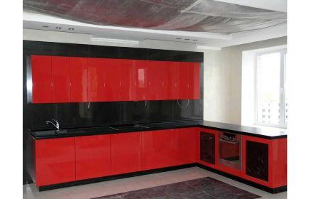 Купить Кухня Буржуа угловая красного цвета с черной столешницей  под заказ