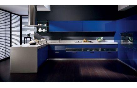 Купить Кухня Дерзость П-образная в стиле модерн синего цвета с белой столешницей  под заказ