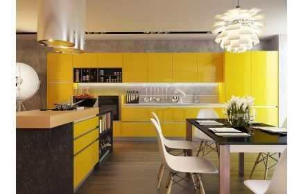 Купить Кухня Эконта прямого типа с островом желтого цвета под заказ
