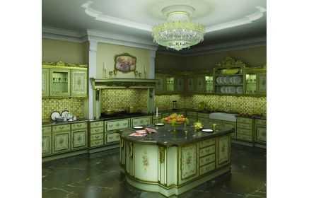 Купить Кухня Элемент в стиле барокко угловая с островом  под заказ