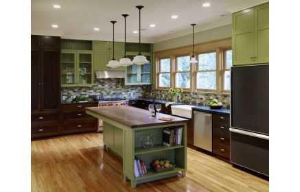 Купить Кухня Энда угловая коричнево-зеленого цвета с островом  под заказ