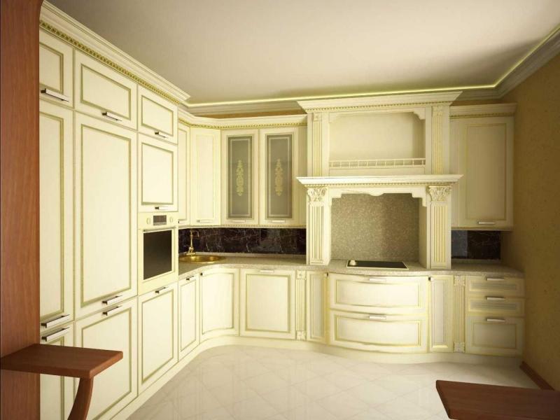Кухня Федот угловая классического стиля белого цвета с декоративными элементами