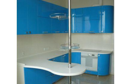 Купить Кухня Гризел угловая синего цвета с белой выносной столешницей под заказ