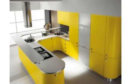 Купить Кухня Иголия П-образная желто-серого цвета со скруглёнными краями  под заказ