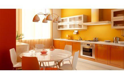 Купить Кухня Иола прямого типа с оранжевым фасадом и с круглым обеденным столом   под заказ