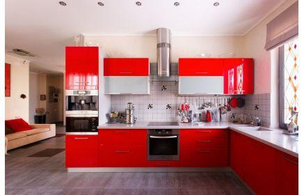 Купить Кухня Иван угловая красного цвета с белой столешницей  под заказ