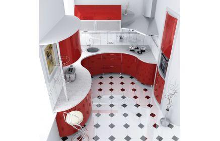 Купить Кухня Карл встроенная с красным фасадом и с плавным изгибом столешницы  под заказ