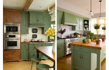Купить Кухня Кассиопея в стиле прованс зеленого цвета с коричневой столешницей  под заказ
