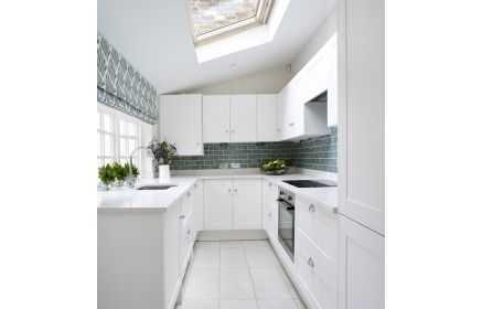 Купить Кухня Клондайк П-образная белого цвета в современном стиле  под заказ