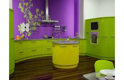 Купить Кухня Комера зеленого цвета с множеством выдвижных ящиков в полукруглой столешнице   под заказ