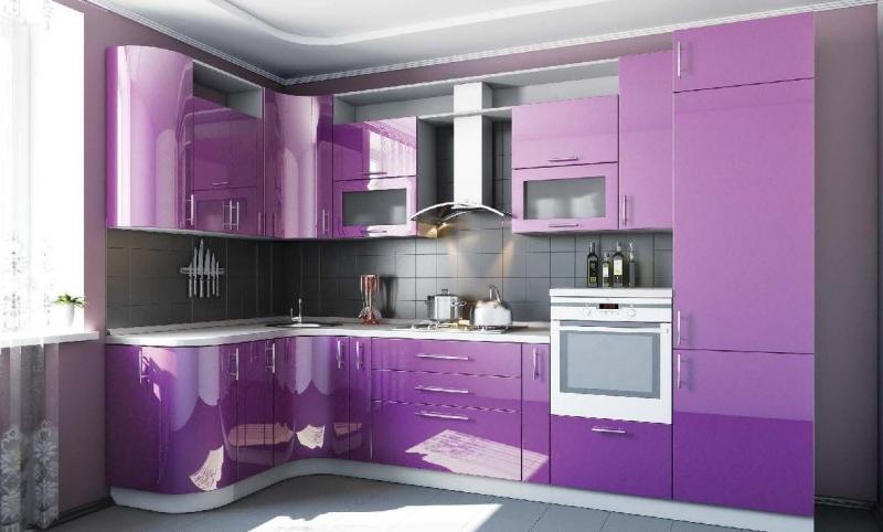 Кухня Кронос угловая фиолетового цвета со скруглёнными углами