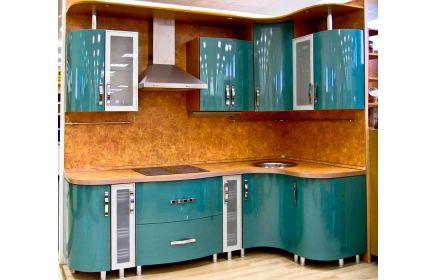 Купить Кухня Лесное озеро угловая бирюзового цвета с коричневой столешницей и задней стенкой  под заказ