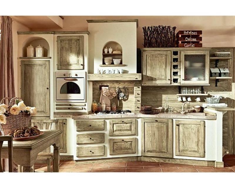 Купить Кухня Любава прямого типа с фасадом под старину в светлых тонах  под заказ