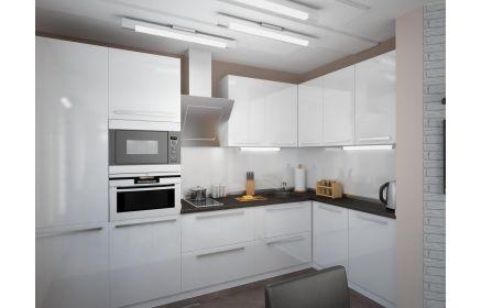 Купить Кухня Малага угловая белого цвета с коричневой столешницей  под заказ
