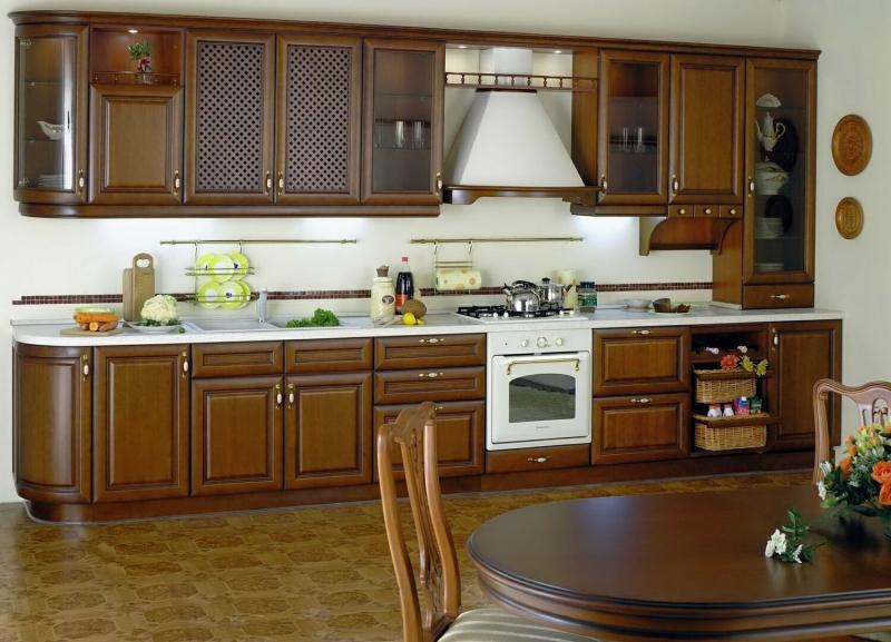 Кухня Марго прямого типа коричневая в стиле современной классики