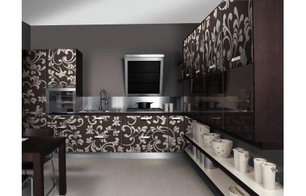 Купить Кухня Марк угловая в современном стиле с глянцевой поверхностью фасада с рисунком  под заказ