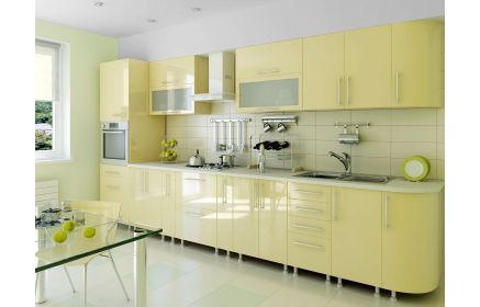 Купить Кухня Марко прямого линейного типа в современном стиле желтого оттенка с вставками из стекла   под заказ