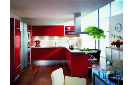 Купить Кухня Митрофан в стиле модерн красного цвета с серой столешницей  под заказ