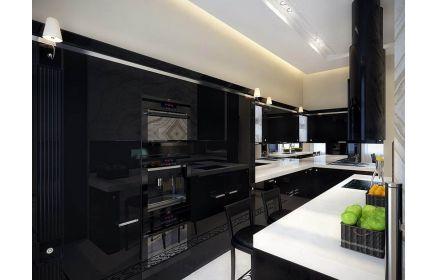 Купить Кухня Нестор в стиле модерн черного цвета с белой П-образной столешницей  под заказ