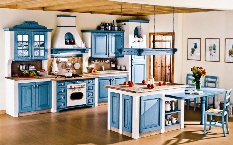 Купить Кухня Очарование классического стиля с синими фасадами  под заказ