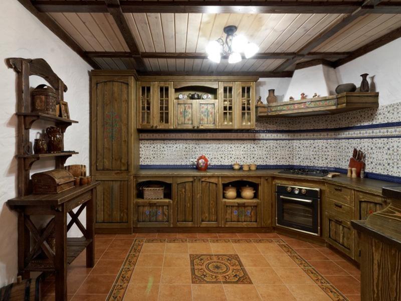 Купить Кухня Ольга угловая из дерева натурального цвета с подвесными шкафами   под заказ