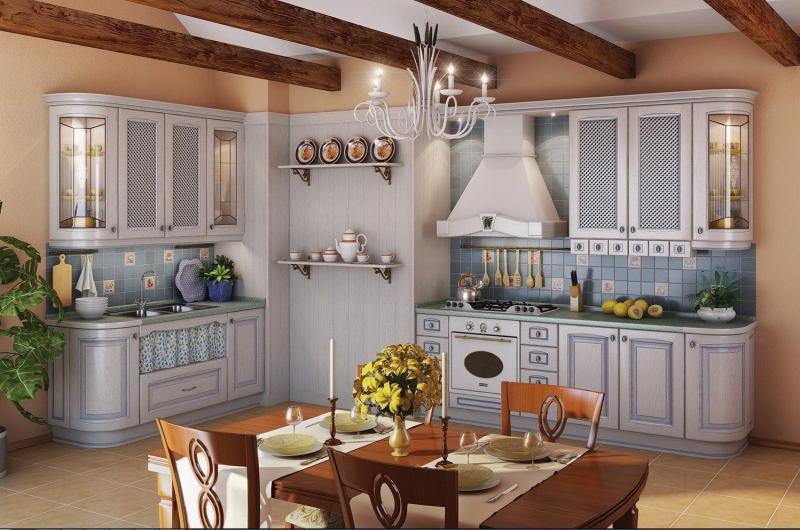 Кухня Рузанна белого цвета с рамочными фасадами