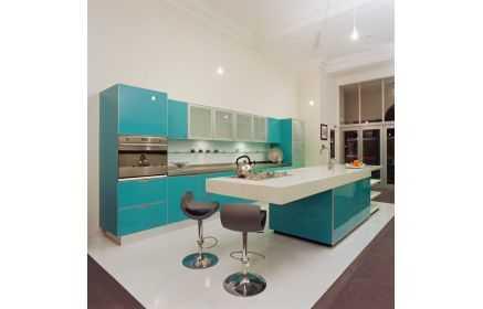 Купить Кухня Шторм в стиле модерн прямого типа бирюзового цвета с островом  под заказ