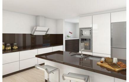Купить Кухня Славна белого цвета с коричневой глянцевой столешницей  под заказ