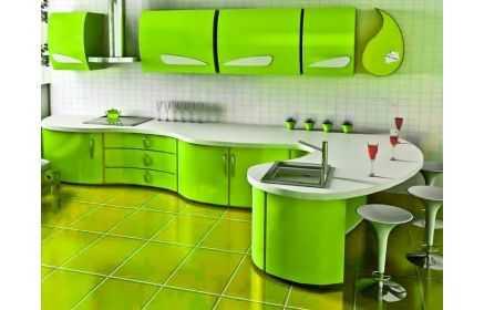 Купить Кухня Сочный лайм с радиусными фасадами и фурнитурой причудливой формы  под заказ