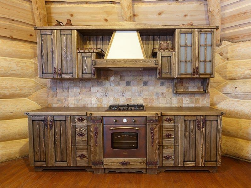 Купить Кухня Соловей из дерева натуральных оттенков с металлической фурнитурой под заказ