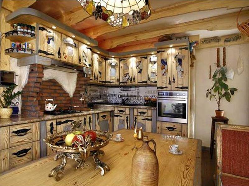 Кухня Тюльпан со встроенной подсветкой и деревянными полочками