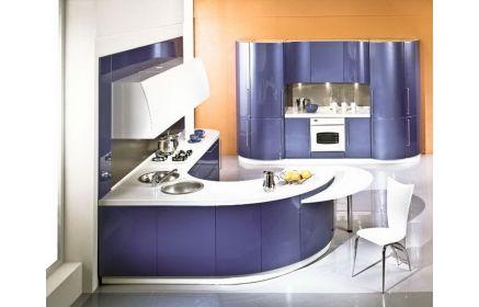 Купить Кухня Васильковое поле стильная современная темно-синего цвета с белой столешницей   под заказ