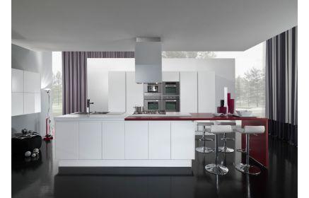 Купить Кухня Вега в стиле модерн белого цвета с выносной красной столешницей  под заказ
