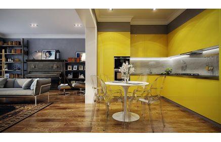 Купить Кухня Верона Лайф встроенная в стиле модерн с желтым фасадом и серой столешницей  под заказ