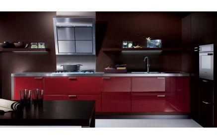 Купить Кухня Вивьен стильная бордового цвета с серой столешницей  под заказ