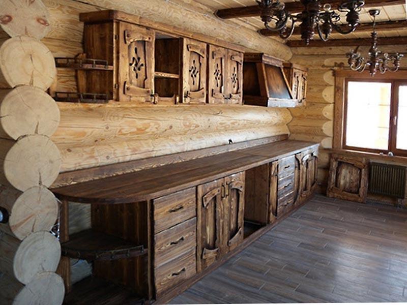 Купить Кухня Ярило прямого типа из массива дерева с резбой на фасаде под заказ