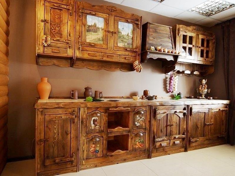 Купить Кухня Забава из массива дерева линейного типа с резными элементами на фасаде  под заказ