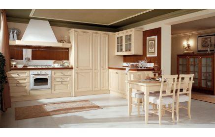 Купить Кухня Зевс в классическом стиле цвета топленого молока с деревянными фасадами с прямоугольной фрезеровкой  под заказ