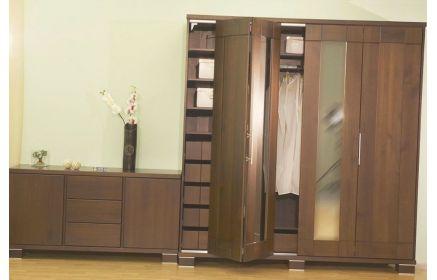Купить Прихожая Мадина 1 шкаф 4 складывающие двери с зеркалом внутри полки и вешалка 1 комод коричневое дерево под заказ