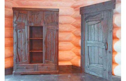 Купить Шкаф Леший 5 дверей 2 ящика 3 полки красно-коричневое дерево в технике под старину под заказ