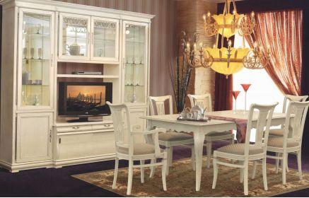 Купить Стенка Доля комод под ТВ 4 двери со стеклом 3 двери из дерева 2 ящика 11 полок кремовый цвет под заказ