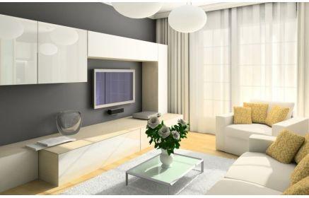 Купить Шкаф Кира стенка под телевизор 2 подвесные тумбы 1 напольная тумба белая эмаль под заказ