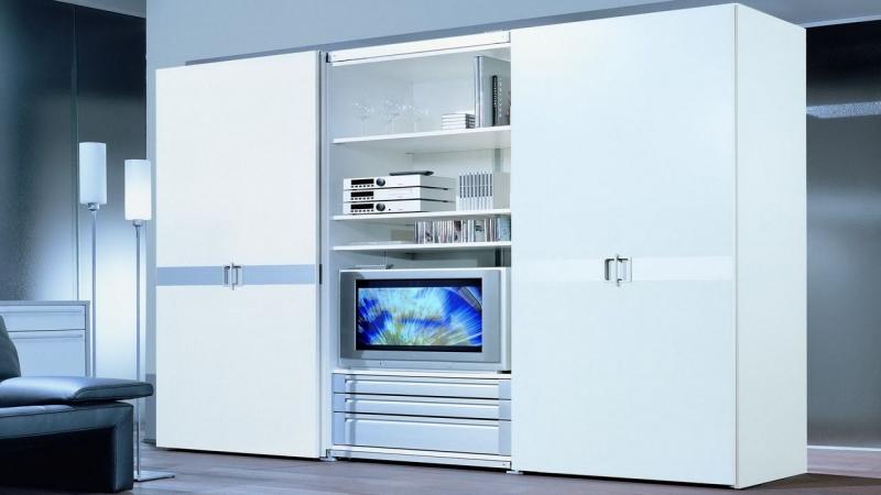 Шкаф Мечта стенка с тумбой под ТВ 3 ящика 3 полки 4 двери дерево окрашено в белый цвет